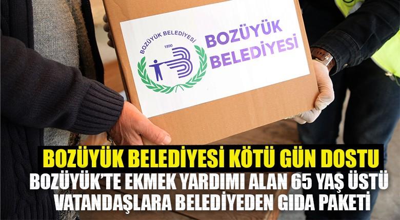 Bozüyük'te ekmek yardımı alan 65 yaş üstü vatandaşlara belediyeden gıda paketi