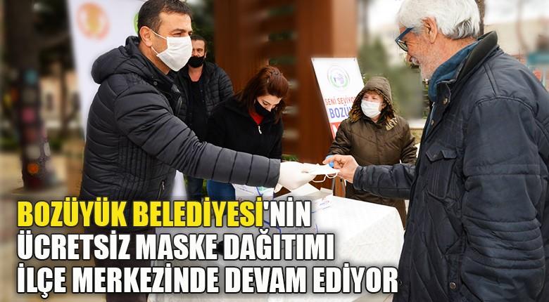Bozüyük Belediyesi'nin ücretsiz maske dağıtımı ilçe merkezinde devam ediyor