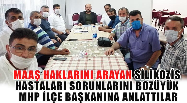 Maaş haklarını arayan silikozis hastaları sorunlarını Bozüyük MHP ilçe başkanına anlattılar