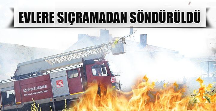 Kurulukta çıkan yangın evlere sıçramadan söndürüldü