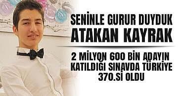 Bozüyük'lü Atakan Kayrak Üniversite sınavında Türkiye 370. si oldu