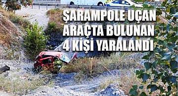 Şarampole uçan araçta bulunan 4 kişi yaralandı